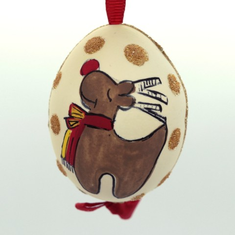 NEW - Christmas Easter Salzburg Hand Painted Easter Egg - Reindeer