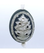 NEW - Christmas Easter Salzburg Hand Painted Easter Egg - Silver Tree
