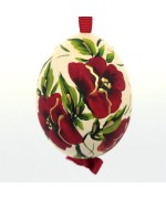 NEW - Christmas Easter Salzburg Hand Painted Easter Egg - Red Flowers