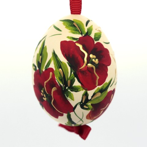 Christmas Easter Salzburg Hand Painted Easter Egg - Red Flowers
