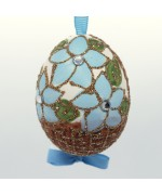 NEW - Christmas Easter Salzburg Hand Painted Easter Egg - Blue Flower Basket