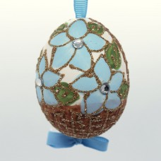 Christmas Easter Salzburg Hand Painted Easter Egg - Blue Flower Basket