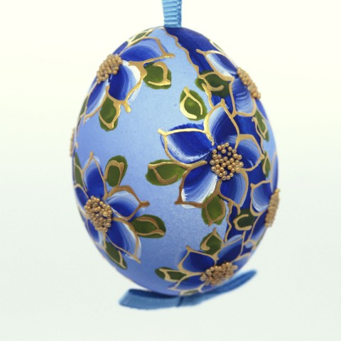 NEW - Christmas Easter Salzburg Hand Painted Easter Egg - Blue Flowers