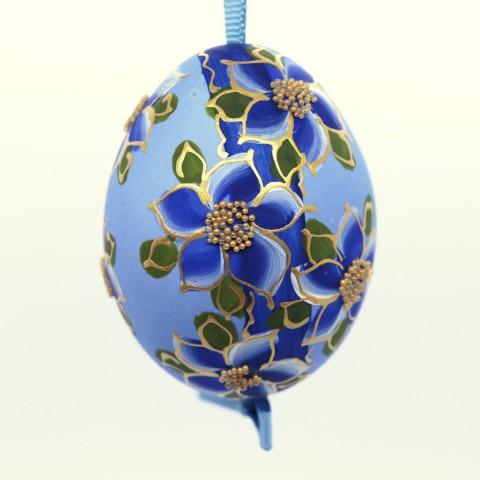 Christmas Easter Salzburg Hand Painted Easter Egg - Blue Flowers