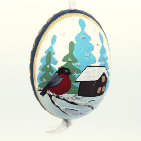 NEW - Christmas Easter Salzburg Hand Painted Easter Egg - Winter Cabin
