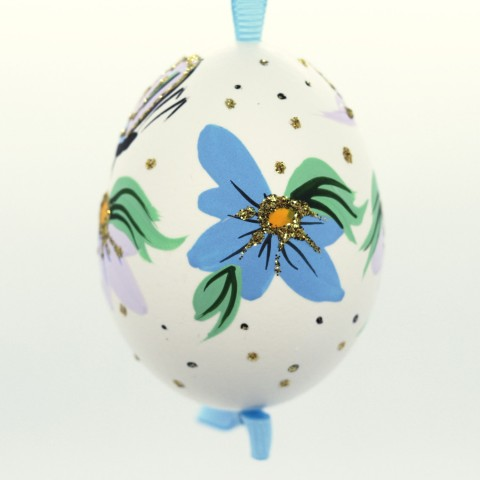 Christmas Easter Salzburg Hand Painted Easter Egg - Butterfly with Flowers