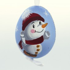 Christmas Easter Salzburg Hand Painted Easter Egg - Skating Snowman - TEMPORARILY OUT OF STOCK