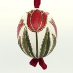 NEW - Christmas Easter Salzburg Hand Painted Easter Egg - Red Tulips