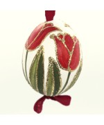 Christmas Easter Salzburg Hand Painted Easter Egg - Red Tulips - TEMPORARILY OUT OF STOCK