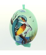 NEW - Christmas Easter Salzburg Hand Painted Easter Egg - Fishing Bird