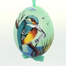 NEW - Christmas Easter Salzburg Hand Painted Easter Egg - Fishing Bird