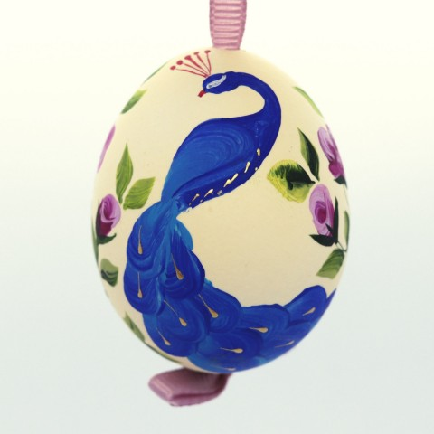 NEW - Christmas Easter Salzburg Hand Painted Easter Egg - Peacock