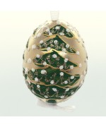 NEW - Christmas Easter Salzburg Hand Painted Easter Egg - Gold Christmas Tree