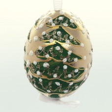 Christmas Easter Salzburg Hand Painted Easter Egg - Gold Christmas Tree