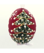 Christmas Easter Salzburg Hand Painted Easter Egg - Red Christmas Tree - TEMPORARILY OUT OF STOCK