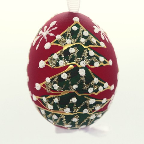 NEW - Christmas Easter Salzburg Hand Painted Easter Egg - Red Christmas Tree