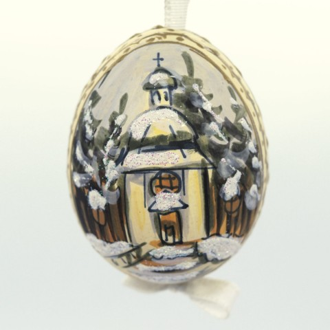 NEW - Christmas Easter Salzburg Hand Painted Easter Egg - Christmas Church