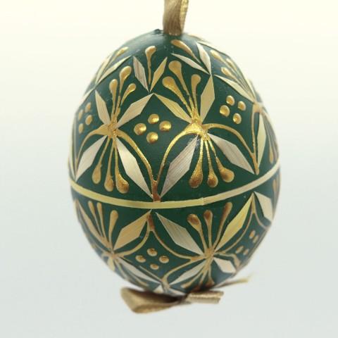 Christmas Easter Salzburg Hand Painted Easter Egg - Green Straw Egg