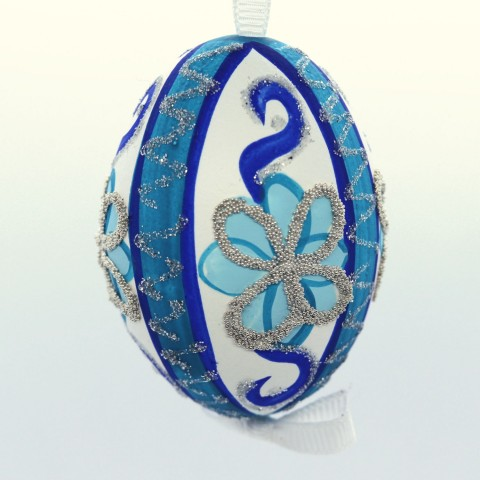 NEW - Christmas Easter Salzburg Hand Painted Easter Egg - Blue Pattern