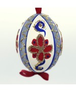 NEW - Christmas Easter Salzburg Hand Painted Easter Egg - Blue and Red Pattern