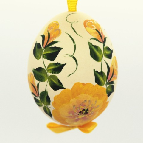 NEW - Christmas Easter Salzburg Hand Painted Easter Egg - Yellow Flowers