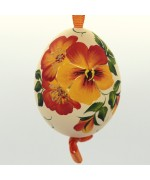 NEW - Christmas Easter Salzburg Hand Painted Easter Egg - Orange Flowers