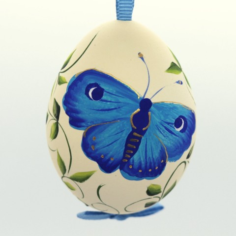 NEW - Christmas Easter Salzburg Hand Painted Easter Egg - Blue Butterfly