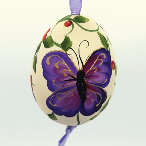 NEW - Christmas Easter Salzburg Hand Painted Easter Egg - Purple Butterfly