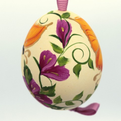 Christmas Easter Salzburg Hand Painted Easter Egg - Orange Butterfly