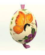 Christmas Easter Salzburg Hand Painted Easter Egg - Orange Butterfly