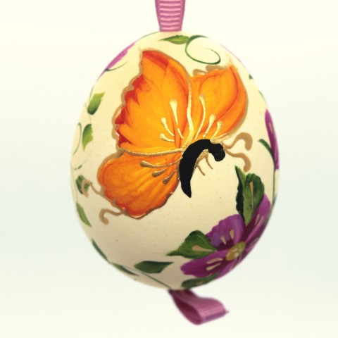 NEW - Christmas Easter Salzburg Hand Painted Easter Egg - Orange Butterfly