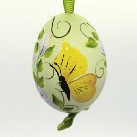 Christmas Easter Salzburg Hand Painted Easter Egg - Yellow Butterfly - TEMPORARILY OUT OF STOCK