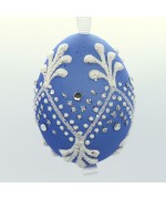 NEW - Christmas Easter Salzburg Hand Painted Easter Egg - Blue Egg
