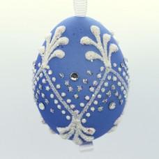 NEW - Christmas Easter Salzburg Hand Painted Easter Egg - Blue Egg