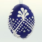 NEW - Christmas Easter Salzburg Hand Painted Easter Egg - Dark Blue Egg