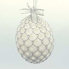 NEW - Christmas Easter Salzburg Hand Painted Easter Egg - Silver Wire Egg