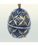 NEW - Christmas Easter Salzburg Hand Painted Easter Egg - Blue Straw Egg