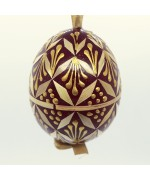 NEW - Christmas Easter Salzburg Hand Painted Easter Egg - Dark Red Straw Egg