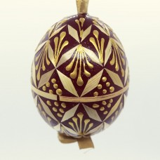 Christmas Easter Salzburg Hand Painted Easter Egg - Dark Red Straw Egg