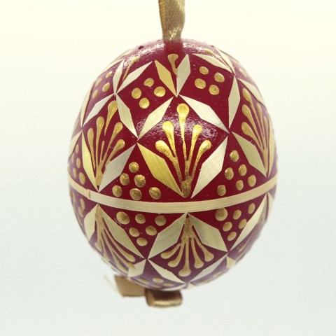 NEW - Christmas Easter Salzburg Hand Painted Easter Egg - Red Straw Egg