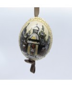 NEW - Peter Priess of Salzburg Hand Painted Christmas Egg - Christmas Church TEMPORARILY OUT OF STOCK