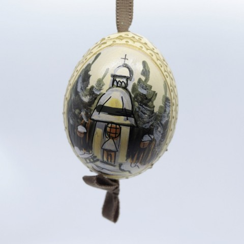 NEW - Peter Priess of Salzburg Hand Painted Christmas Egg - Christmas Church