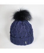 NEW - McBurn Navy Knit Beanie with Fur Pom