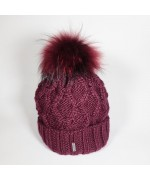 NEW - McBurn Burgundy Knit Beanie with Fur Pom