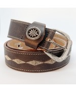 NEW - Leather Belt with Pewter Edelweiss