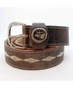 NEW - Leather Belt with Pewter Stag
