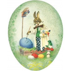 "Traditional Motif Paper Mache Candy Holder  ""Easter Bunny painting eggs"""