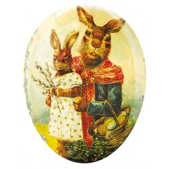 "Traditional Motif Paper Mache Candy Holder  ""Bunny Mom and Daughter"""
