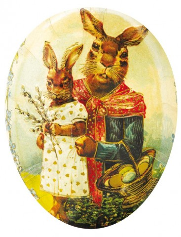 "TEMPORARILY OUT OF STOCK - Traditional Motif Paper Mache Candy Holder  ""Bunny Mom and Daughter"""
