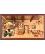 German wooden 3D-picture box-Diorama Farmhouse Parlor Painted